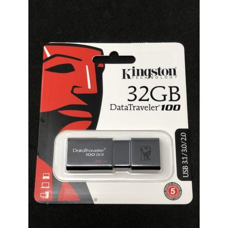 Clé USB 3.1 Kingston DataTraveler 100 de 32GB - Présentation emballage avant