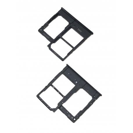 Tiroir de carte double SIM et carte SD Noir ORIGINAL pour SAMSUNG Galaxy A20e - A202F - Présentation avant / arrière
