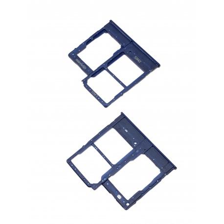Tiroir de carte double SIM et carte SD Bleu ORIGINAL pour SAMSUNG Galaxy A20e - A202F - Présentation avant / arrière